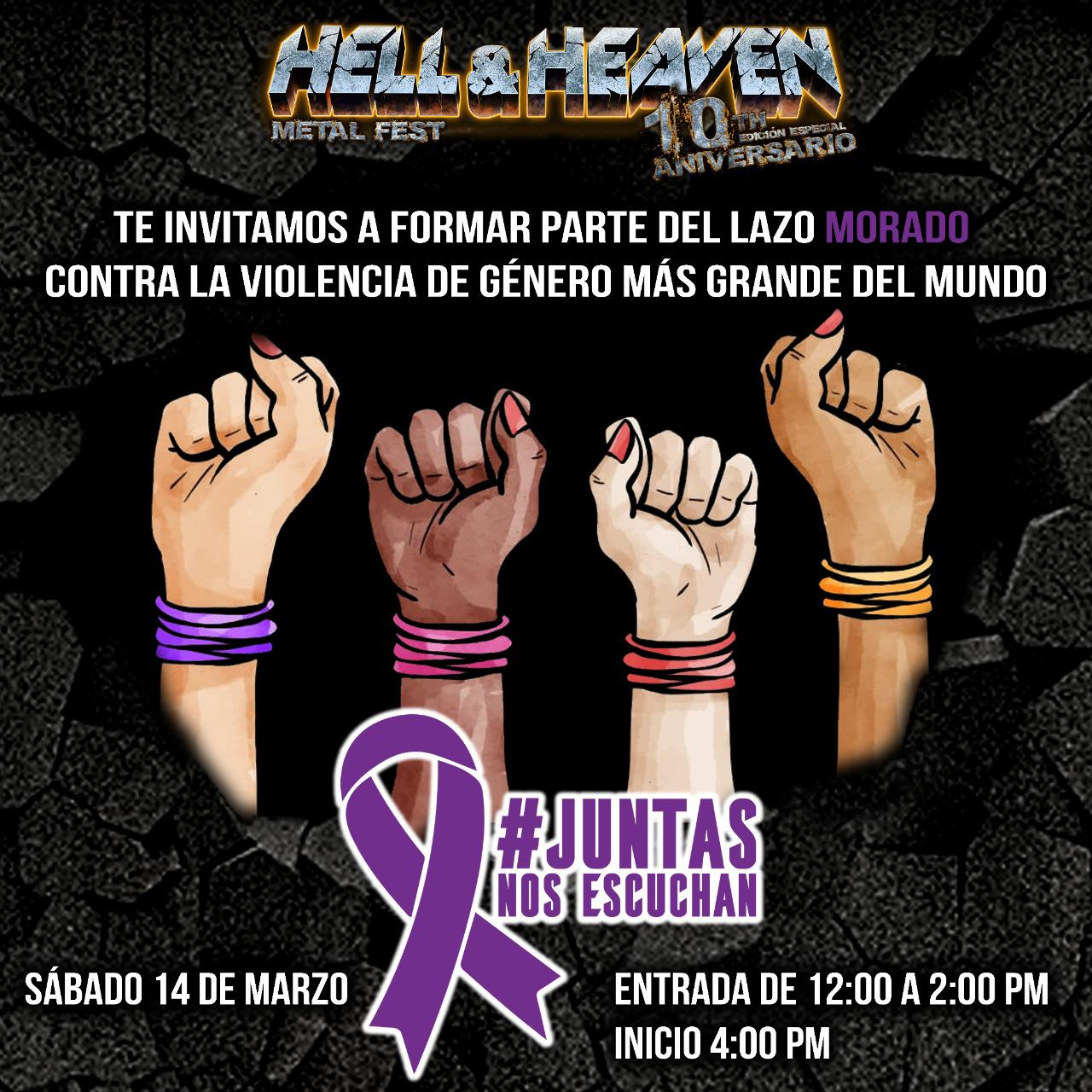 Hell and Heaven Metal Fest auspiciará la creación del lazo morado más grande del mundo contra la violencia hacia la mujer